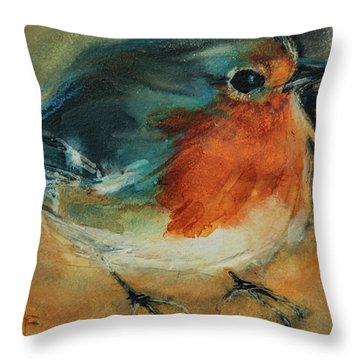 Throw Pillow featuring the painting European Robin 2 by Jani Freimann