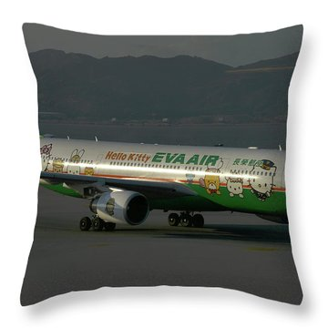 Throw Pillow featuring the photograph Eva Air Airbus A330-203 by Tim Beach