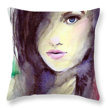 Throw Pillow featuring the painting Olivia by Ed  Heaton