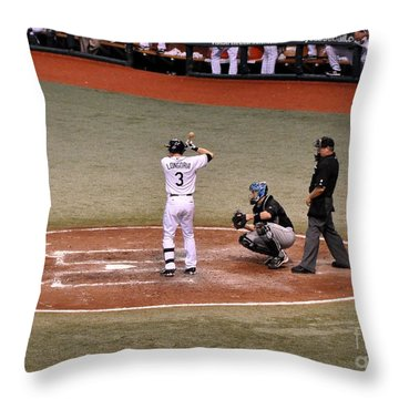 Evan Longoria - At The Plate Throw Pillow by John Black