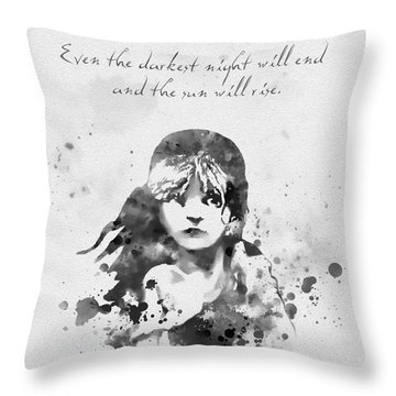 Even The Darkest Night Will End Black And White Throw Pillow