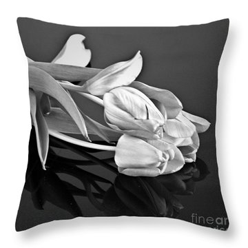 Even Tulips Are Beautiful In Black And White Throw Pillow by Sherry Hallemeier