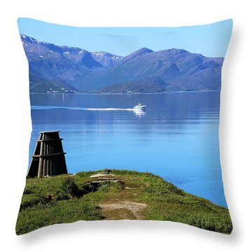 Evenes, Fjord In The North Of Norway Throw Pillow