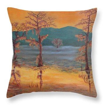 Evening On Caddo Lake Throw Pillow