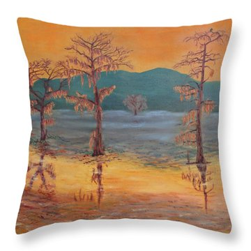 Evening At Caddo Lake Throw Pillow