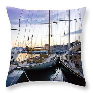 Evening At Harbor  Throw Pillow