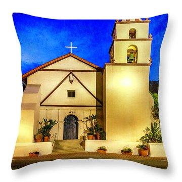 Evening At Mission San Buenaventura Throw Pillow