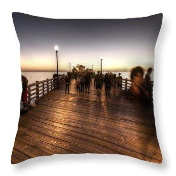 Evening At Oceanside Pier Throw Pillow