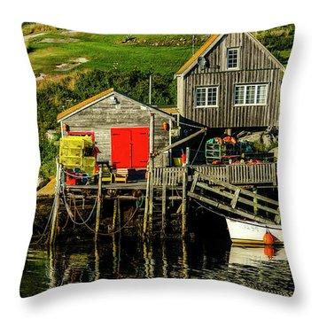 Evening At Peggys Cove Throw Pillow by Ken Morris