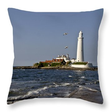 Evening At St. Mary's Lighthouse Throw Pillow