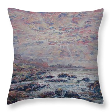 Evening At The Beach Throw Pillow