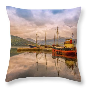 Evening At The Dock Throw Pillow by Roy McPeak