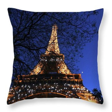 Throw Pillow featuring the photograph Evening At The Eiffel Tower by Heidi Hermes