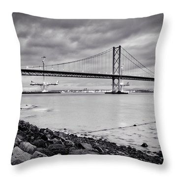 Evening At The Forth Road Bridges Throw Pillow by RKAB Works