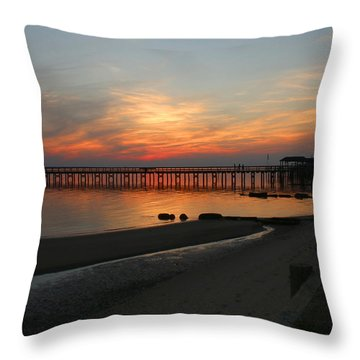 Throw Pillow featuring the photograph Evening At The Hilton Pier  by Ola Allen