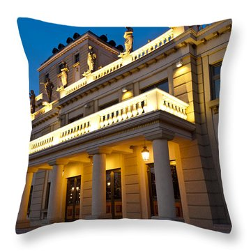 Evening At The National Theater Throw Pillow by Rae Tucker