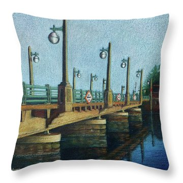 Throw Pillow featuring the painting Evening, Bayville Bridge by Susan Herbst