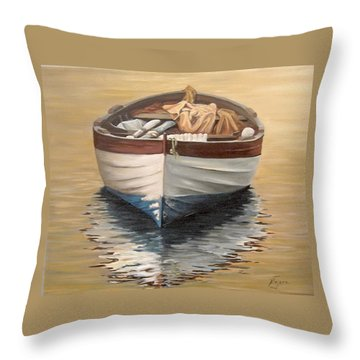 Evening Boat Throw Pillow by Natalia Tejera