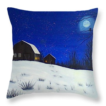 Evening Chores Throw Pillow