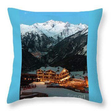 Evening Comes In Courchevel Throw Pillow
