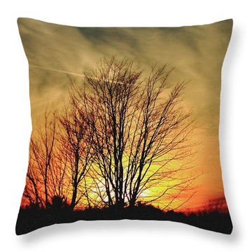 Evening Fire Throw Pillow