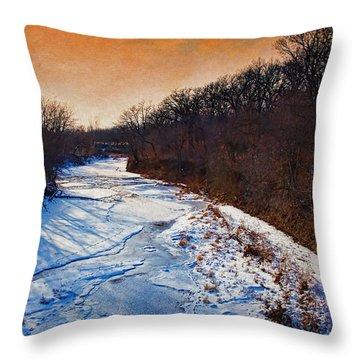 Evening Frozen Creek Throw Pillow