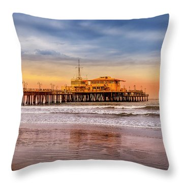 Evening Glow At The Pier Throw Pillow