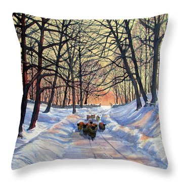 Evening Glow On A Winter Lane Throw Pillow