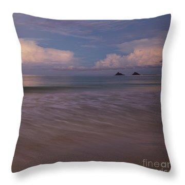 Throw Pillow featuring the photograph Evening Glow Over Mokulua Islands by Charmian Vistaunet