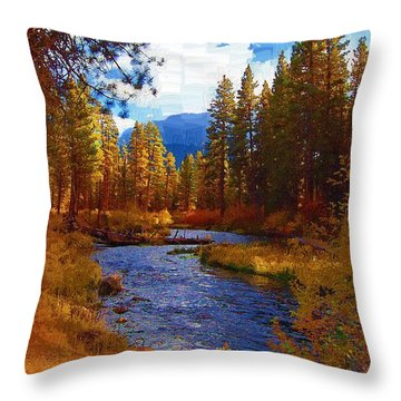 Evening Hatch On The Metolius River Painting 2 Throw Pillow by Diane E Berry