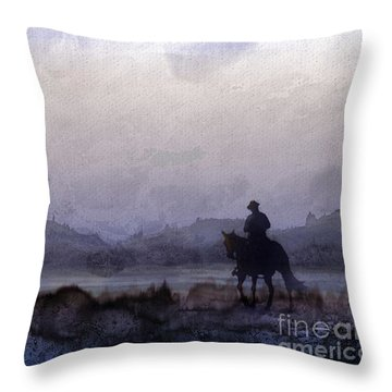 Evening Horseback Ride Throw Pillow by Judy Filarecki