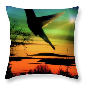 Evening Hummingbird II Throw Pillow