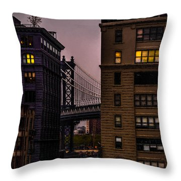 Throw Pillow featuring the photograph Evening In Dumbo by Chris Lord