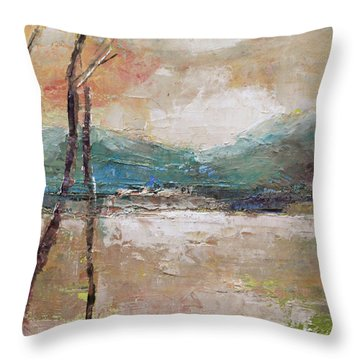 Evening In Fall Throw Pillow by Becky Kim