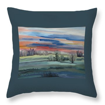 Throw Pillow featuring the painting Evening In Fishcreek Park by Anna  Duyunova