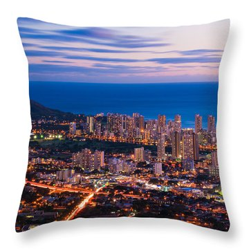 Evening In Honolulu Throw Pillow
