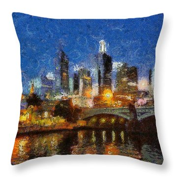 Evening In Melbourne Throw Pillow