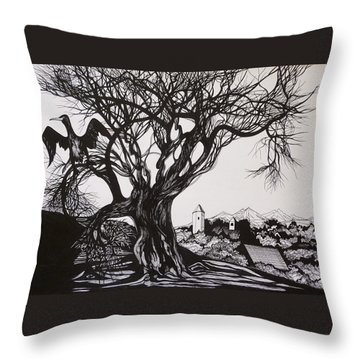 Throw Pillow featuring the drawing Evening In Midnapore by Anna  Duyunova