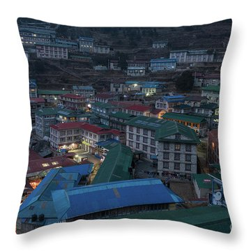 Throw Pillow featuring the photograph Evening In Namche Nepal by Mike Reid