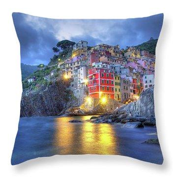 Evening In Riomaggiore Throw Pillow