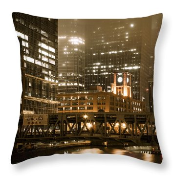 Evening In The Windy City Throw Pillow by Miguel Winterpacht