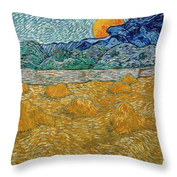 Throw Pillow featuring the painting Evening Landscape With Rising Moon by Van Gogh