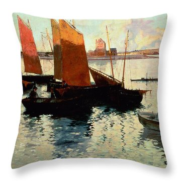 Evening Light At The Port Of Camaret Throw Pillow by Charles Cottet