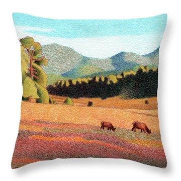Evening Light Evergreen Throw Pillow
