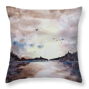 Throw Pillow featuring the painting Evening Light by Geni Gorani