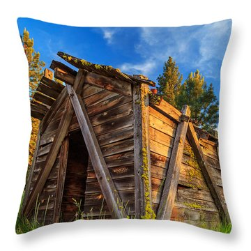 Evening Light On An Old Cabin Throw Pillow