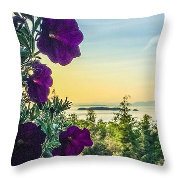 Evening Light On Orcas Island Throw Pillow by William Wyckoff