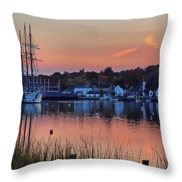 Evening Light Over Mystic Throw Pillow