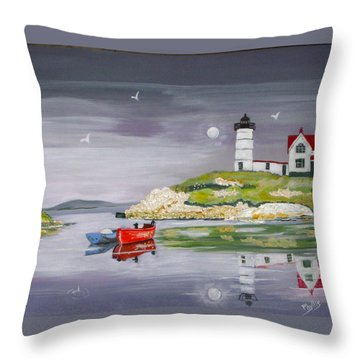 Throw Pillow featuring the painting Evening Lighthouse by Phyllis Kaltenbach
