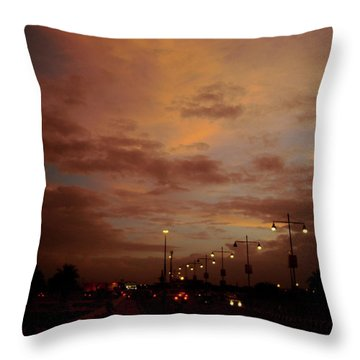 Evening Lights On Road Throw Pillow